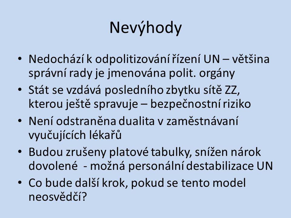 Nevýhody • Nedochází k odpolitizování řízení UN – většina správní rady je jmenována polit.