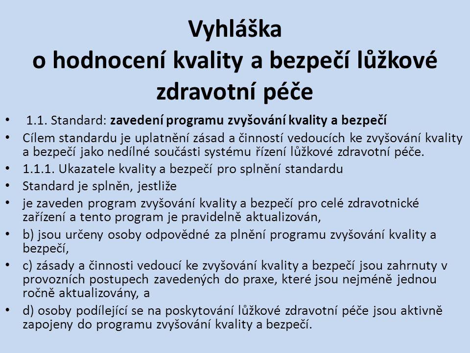 Vyhláška o hodnocení kvality a bezpečí lůžkové zdravotní péče • 1.1.