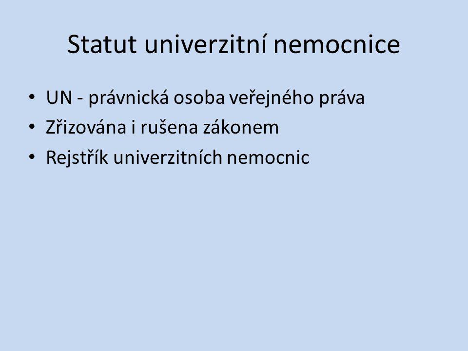 Statut univerzitní nemocnice • UN - právnická osoba veřejného práva • Zřizována i rušena zákonem • Rejstřík univerzitních nemocnic