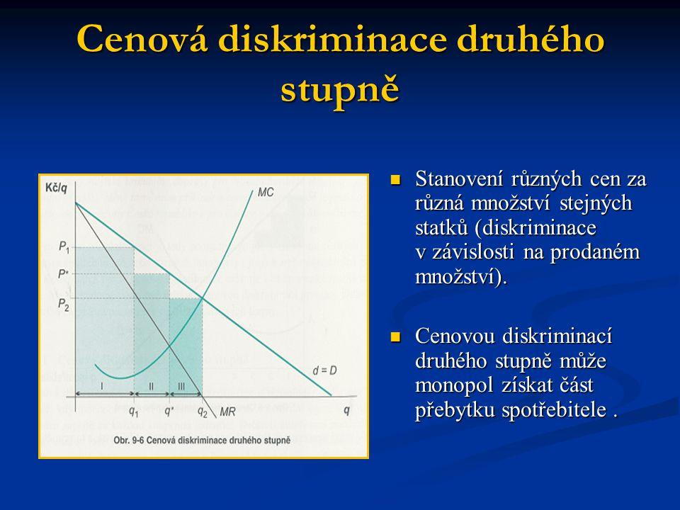 Cenová diskriminace druhého stupně  Stanovení různých cen za různá množství stejných statků (diskriminace v závislosti na prodaném množství).  Cenov