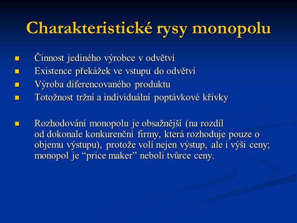 Charakteristické rysy monopolu  Činnost jediného výrobce v odvětví  Existence překážek ve vstupu do odvětví  Výroba diferencovaného produktu  Toto