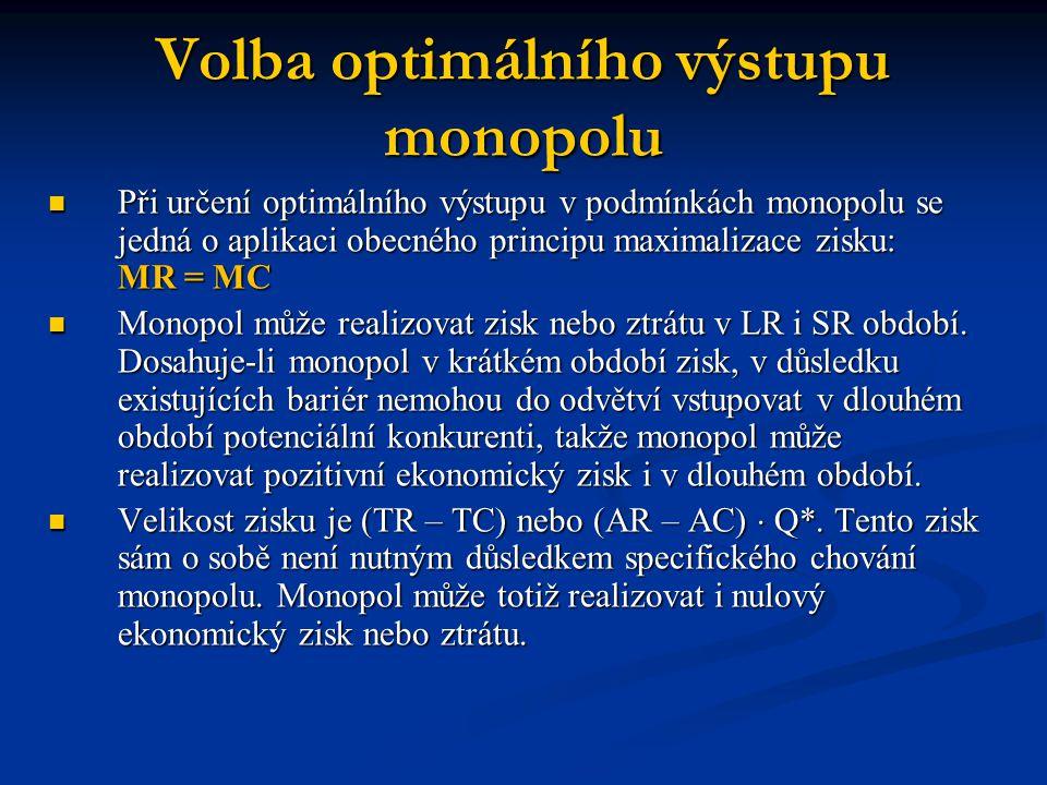 Volba optimálního výstupu monopolu  Při určení optimálního výstupu v podmínkách monopolu se jedná o aplikaci obecného principu maximalizace zisku: MR