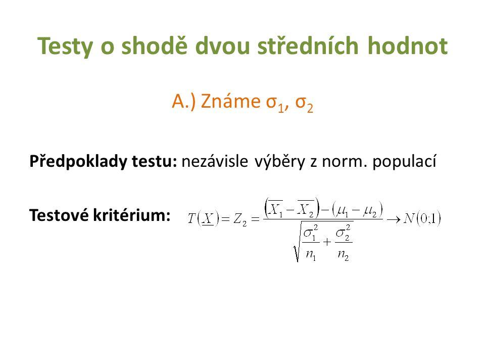 Testy o shodě dvou středních hodnot A.) Známe σ 1, σ 2 Předpoklady testu: nezávisle výběry z norm. populací Testové kritérium: