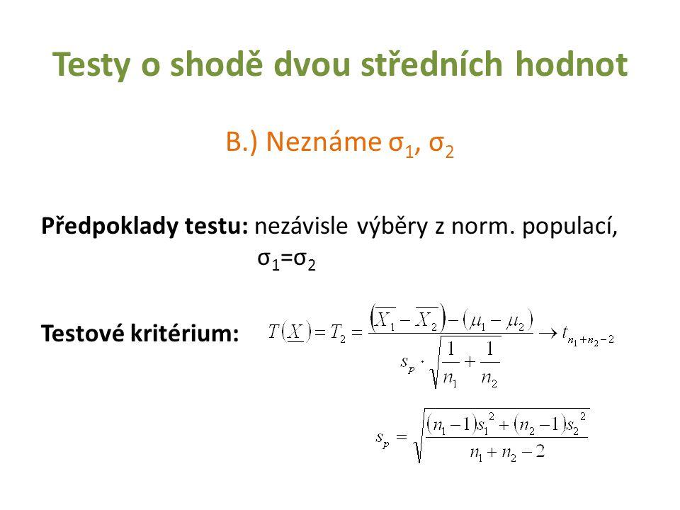 Testy o shodě dvou středních hodnot B.) Neznáme σ 1, σ 2 Předpoklady testu: nezávisle výběry z norm. populací, σ 1 =σ 2 Testové kritérium: