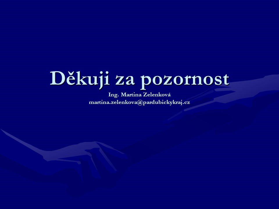 Děkuji za pozornost Ing. Martina Zelenková martina.zelenkova@pardubickykraj.cz