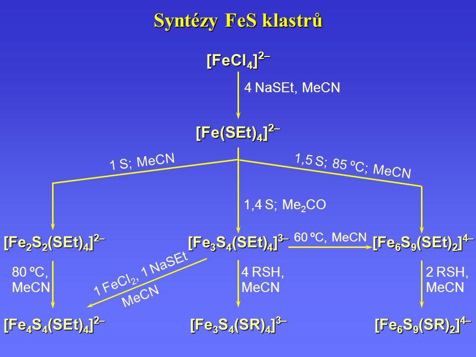 Syntézy FeS klastrů [FeCl 4 ] 2– [Fe(SEt) 4 ] 2– 4 NaSEt, MeCN [Fe 3 S 4 (SEt) 4 ] 3– [Fe 3 S 4 (SR) 4 ] 3– [Fe 4 S 4 (SEt) 4 ] 2– [Fe 2 S 2 (SEt) 4 ]