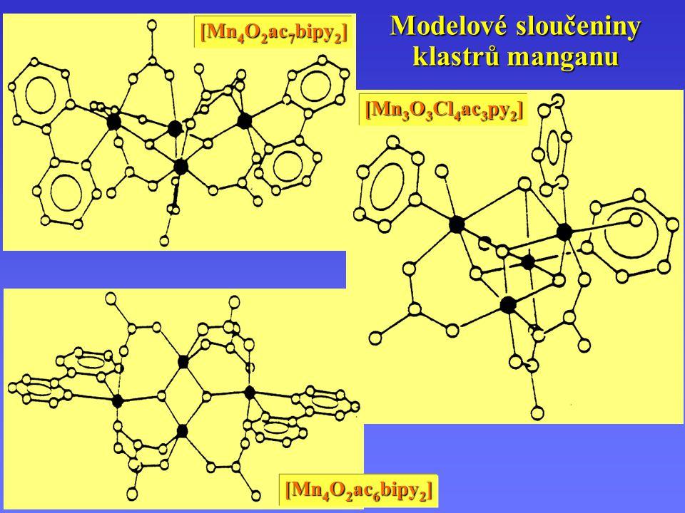 Modelové sloučeniny klastrů manganu [Mn 4 O 2 ac 7 bipy 2 ] [Mn 4 O 2 ac 6 bipy 2 ] [Mn 3 O 3 Cl 4 ac 3 py 2 ]