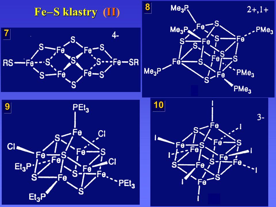 Syntézy FeS klastrů [FeCl 4 ] 2– [Fe(SEt) 4 ] 2– 4 NaSEt, MeCN [Fe 3 S 4 (SEt) 4 ] 3– [Fe 3 S 4 (SR) 4 ] 3– [Fe 4 S 4 (SEt) 4 ] 2– [Fe 2 S 2 (SEt) 4 ] 2– [Fe 6 S 9 (SEt) 2 ] 4– [Fe 6 S 9 (SR) 2 ] 4– 1,4 S; Me 2 CO 4 RSH, MeCN 2 RSH, MeCN 60 ºC, MeCN 1,5 S; 85 ºC; MeCN 1 S; MeCN 80 ºC, MeCN MeCN 1 FeCl 2, 1 NaSEt