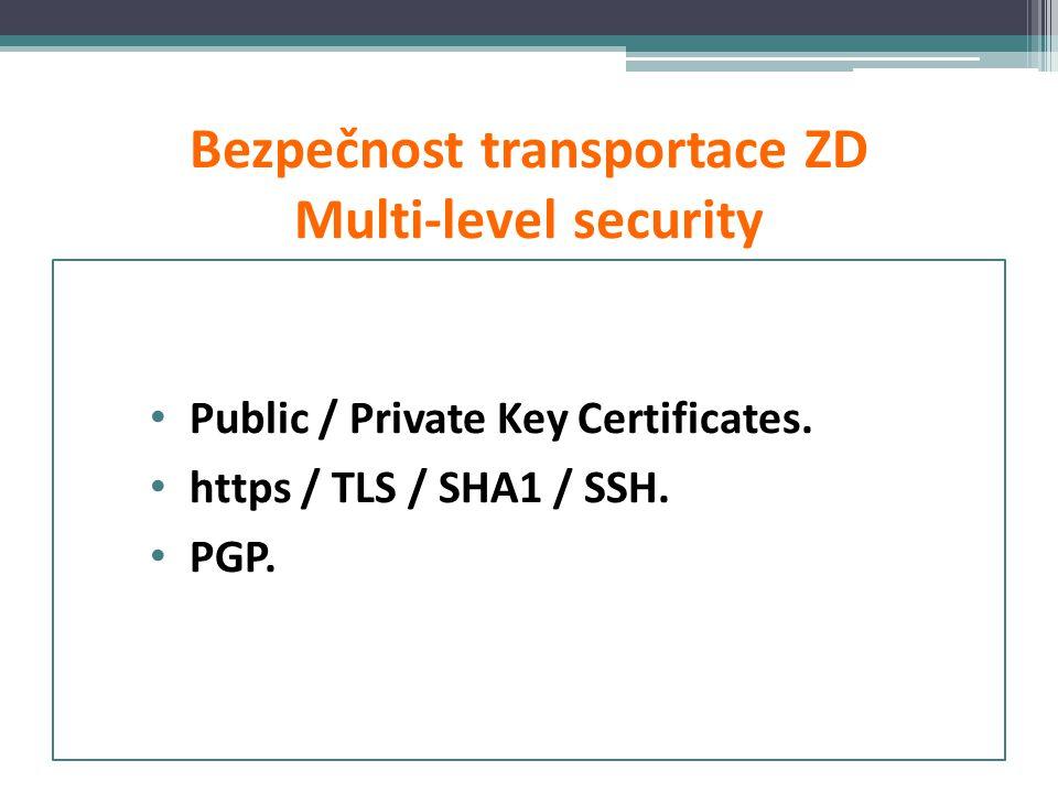 Bezpečnost transportace ZD Multi-level security • Public / Private Key Certificates. • https / TLS / SHA1 / SSH. • PGP.