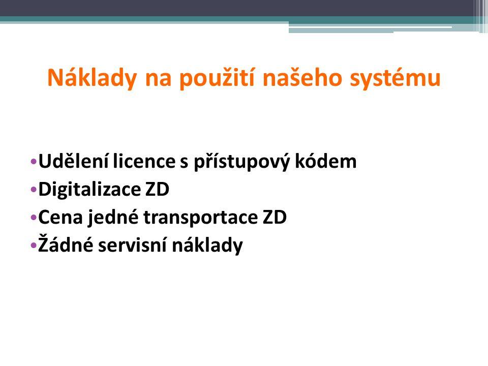 Náklady na použití našeho systému • Udělení licence s přístupový kódem • Digitalizace ZD • Cena jedné transportace ZD • Žádné servisní náklady