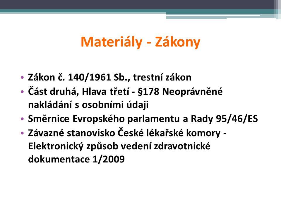 Materiály - Zákony • Zákon č. 140/1961 Sb., trestní zákon • Část druhá, Hlava třetí - §178 Neoprávněné nakládání s osobními údaji • Směrnice Evropskéh
