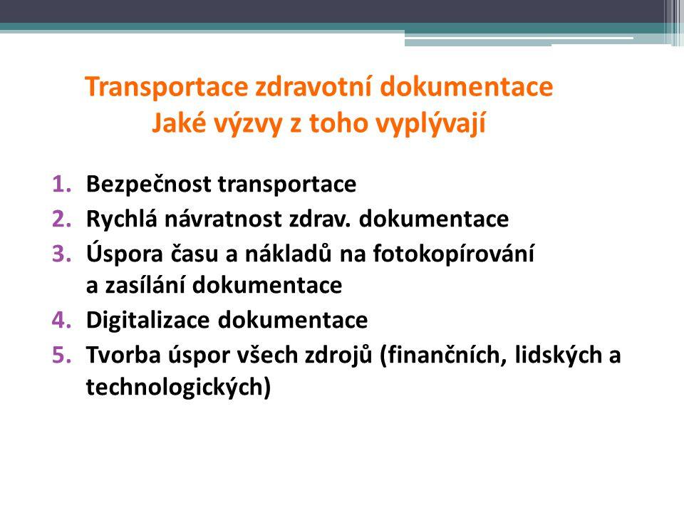 Transportace zdravotní dokumentace Jaké výzvy z toho vyplývají 1.Bezpečnost transportace 2.Rychlá návratnost zdrav. dokumentace 3.Úspora času a náklad