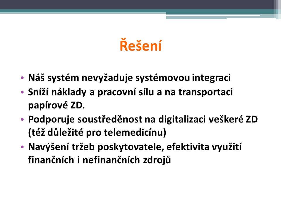 Řešení • Náš systém nevyžaduje systémovou integraci • Sníží náklady a pracovní sílu a na transportaci papírové ZD. • Podporuje soustředěnost na digita