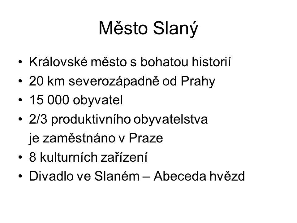 Město Slaný •Královské město s bohatou historií •20 km severozápadně od Prahy •15 000 obyvatel •2/3 produktivního obyvatelstva je zaměstnáno v Praze •