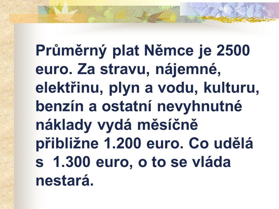 Průměrný plat Němce je 2500 euro. Za stravu, nájemné, elektřinu, plyn a vodu, kulturu, benzín a ostatní nevyhnutné náklady vydá měsíčně přibližne 1.20