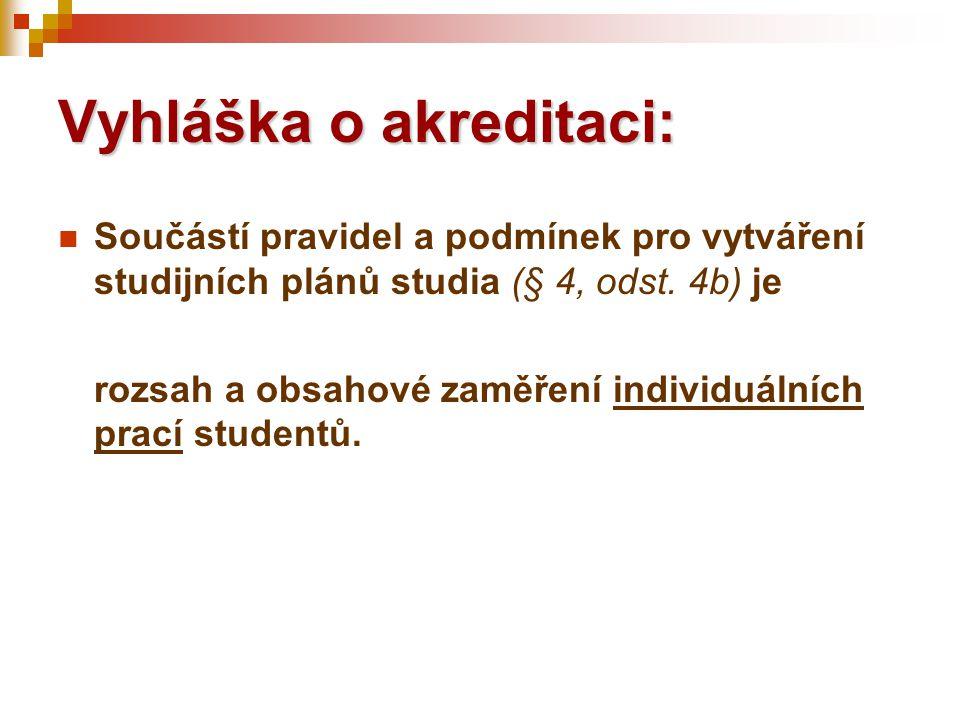 Vyhláška o akreditaci:  Součástí pravidel a podmínek pro vytváření studijních plánů studia (§ 4, odst. 4b) je rozsah a obsahové zaměření individuální