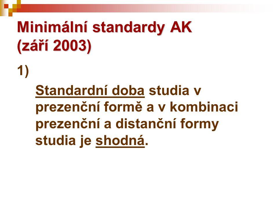 1) Standardní doba studia v prezenční formě a v kombinaci prezenční a distanční formy studia je shodná. Minimální standardy AK (září 2003)