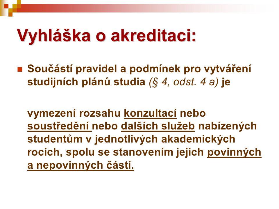 Vyhláška o akreditaci:  Součástí pravidel a podmínek pro vytváření studijních plánů studia (§ 4, odst. 4 a) je vymezení rozsahu konzultací nebo soust