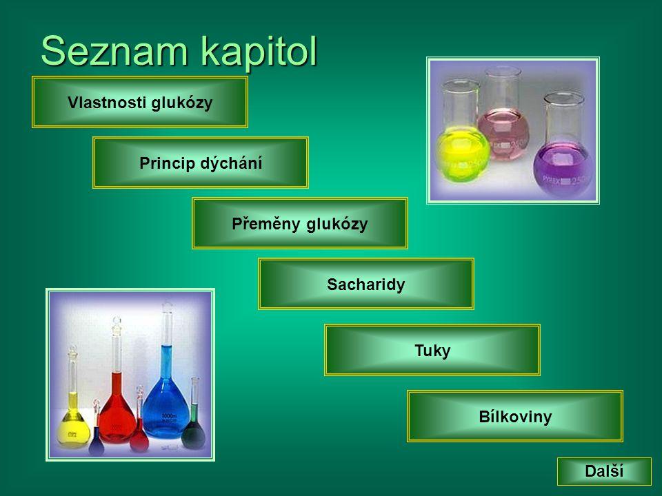 Seznam kapitol Další Bílkoviny Princip dýchání Přeměny glukózy Sacharidy Vlastnosti glukózy Tuky