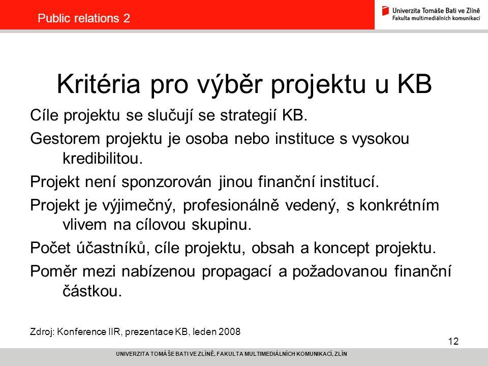 12 UNIVERZITA TOMÁŠE BATI VE ZLÍNĚ, FAKULTA MULTIMEDIÁLNÍCH KOMUNIKACÍ, ZLÍN Public relations 2 Kritéria pro výběr projektu u KB Cíle projektu se slučují se strategií KB.