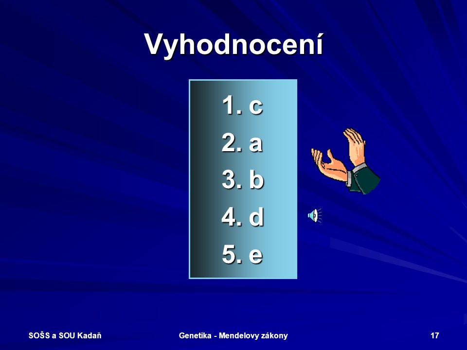 SOŠS a SOU Kadaň Genetika - Mendelovy zákony 16 Které pojmy spolu souvisí? 1.AA 2.Aa 3.AaBb 4.P 5.aa a)Heterozygot (monohybrid) b)Heterozygot (dihybri