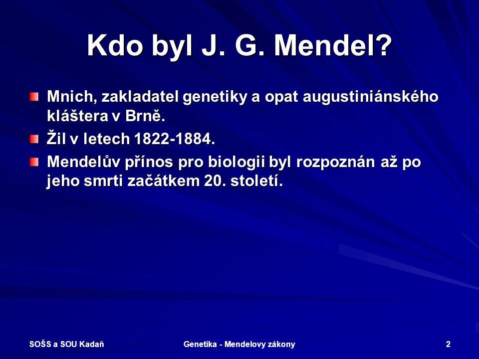 GENETIKA MNOHOBUNĚČNÝCH ORGANISMŮ MENDELOVY ZÁKONY