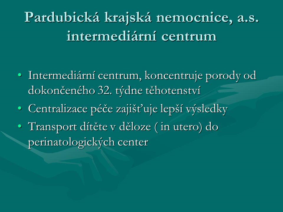 Pardubická krajská nemocnice, a.s. intermediární centrum •Intermediární centrum, koncentruje porody od dokončeného 32. týdne těhotenství •Centralizace
