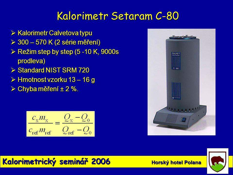 Kalorimetrický seminář 2006 Horský hotel Polana Kalorimetr Setaram C-80  Kalorimetr Calvetova typu  300 – 570 K (2 série měření)  Režim step by ste