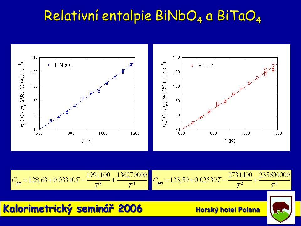 Kalorimetrický seminář 2006 Horský hotel Polana Relativní entalpie BiNbO 4 a BiTaO 4