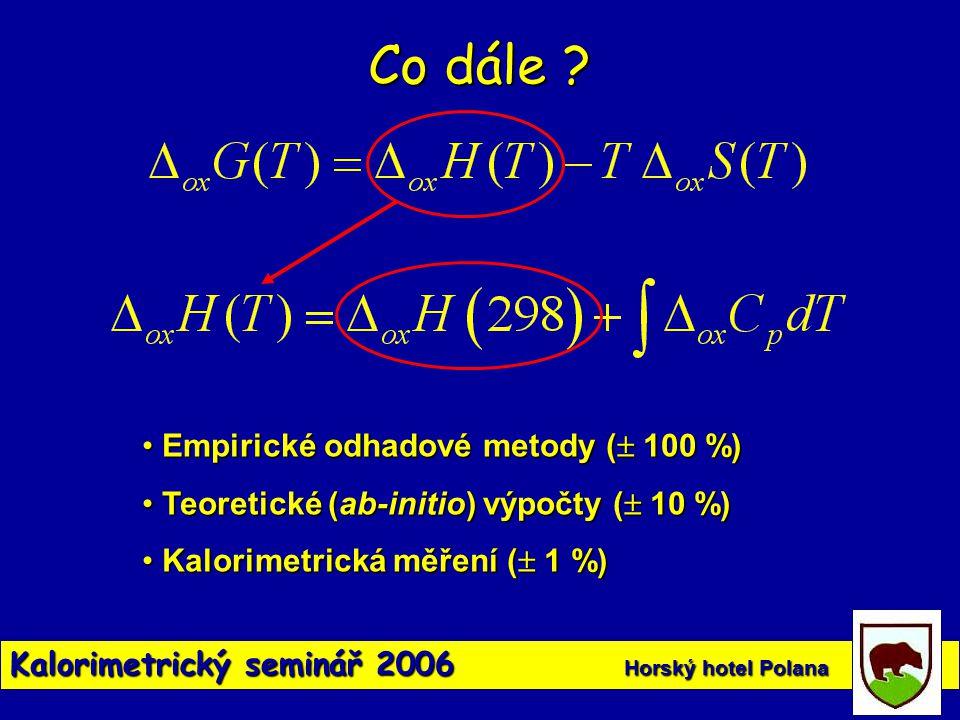 Co dále ? • Empirické odhadové metody (  100 %) • Teoretické (ab-initio) výpočty (  10 %) • Kalorimetrická měření (  1 %)