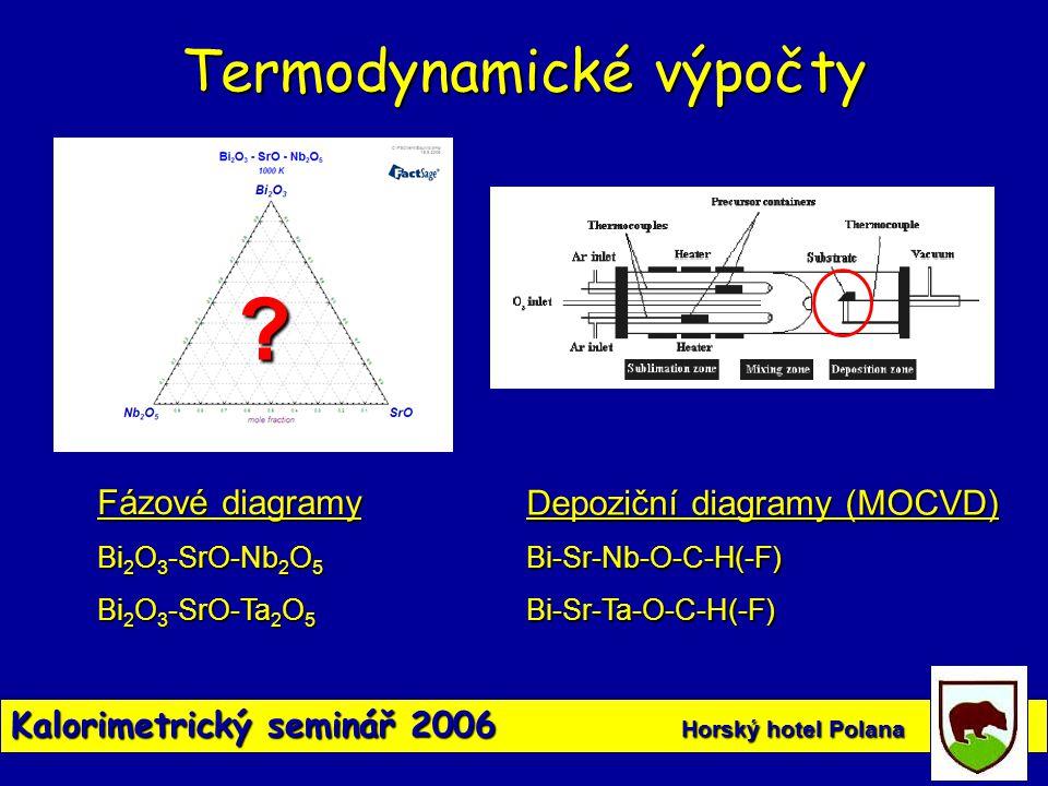 Kalorimetrický seminář 2006 Horský hotel Polana Termodynamické výpočty ? Fázové diagramy Bi 2 O 3 -SrO-Nb 2 O 5 Bi 2 O 3 -SrO-Ta 2 O 5 Depoziční diagr