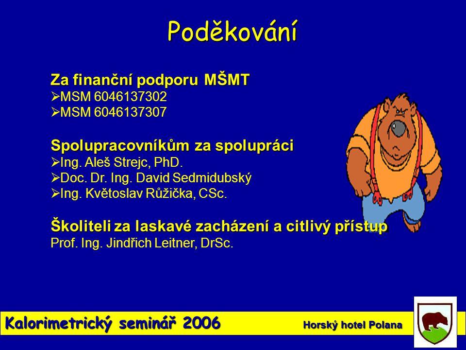 Kalorimetrický seminář 2006 Horský hotel Polana Poděkování Za finanční podporu MŠMT  MSM 6046137302  MSM 6046137307 Spolupracovníkům za spolupráci 