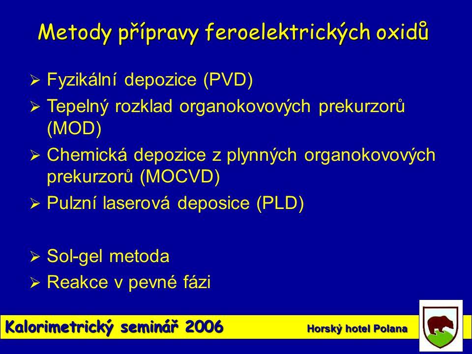 Kalorimetrický seminář 2006 Horský hotel Polana  Fyzikální depozice (PVD)  Tepelný rozklad organokovových prekurzorů (MOD)  Chemická depozice z ply