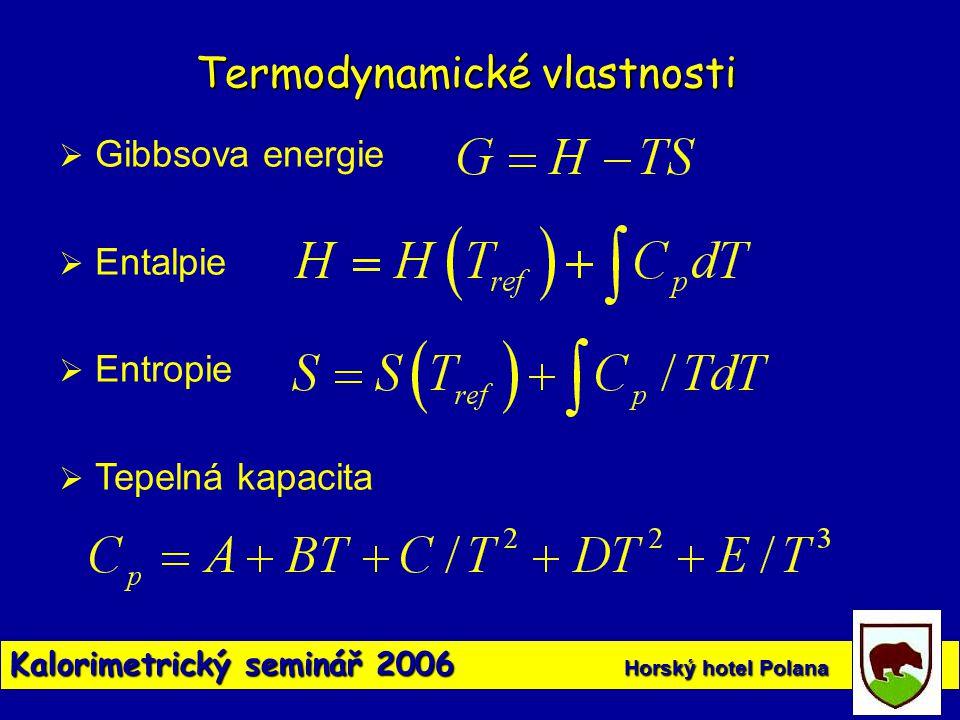 Kalorimetrický seminář 2006 Horský hotel Polana Termodynamické vlastnosti  Gibbsova energie  Entalpie  Entropie  Tepelná kapacita