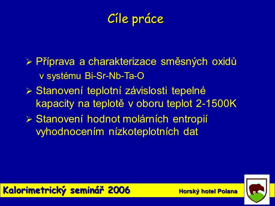 Kalorimetrický seminář 2006 Horský hotel Polana Cíle práce  Příprava a charakterizace směsných oxidů v systému Bi-Sr-Nb-Ta-O  Stanovení teplotní záv