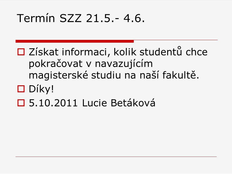 Termín SZZ 21.5.- 4.6.