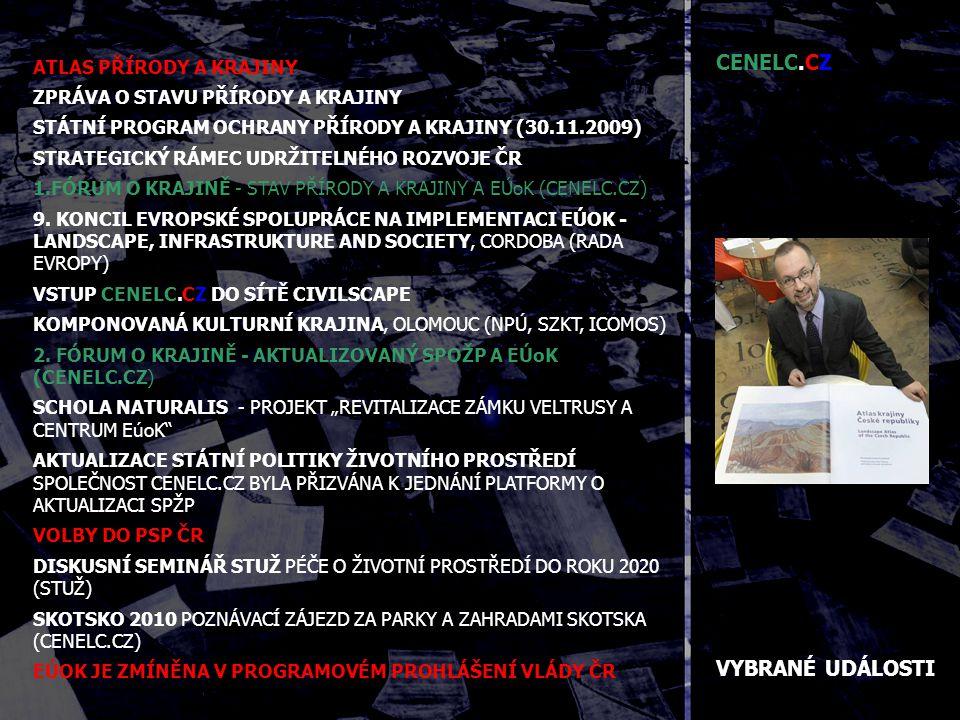 VYBRANÉ UDÁLOSTI ATLAS PŘÍRODY A KRAJINY ZPRÁVA O STAVU PŘÍRODY A KRAJINY STÁTNÍ PROGRAM OCHRANY PŘÍRODY A KRAJINY (30.11.2009) STRATEGICKÝ RÁMEC UDRŽITELNÉHO ROZVOJE ČR 1.FÓRUM O KRAJINĚ - STAV PŘÍRODY A KRAJINY A EÚoK (CENELC.CZ) 9.
