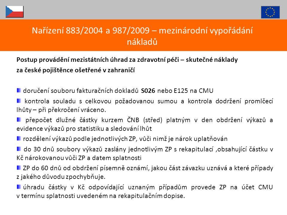 Postup provádění mezistátních úhrad za zdravotní péči – skutečné náklady za české pojištěnce ošetřené v zahraničí doručení souboru fakturačních doklad