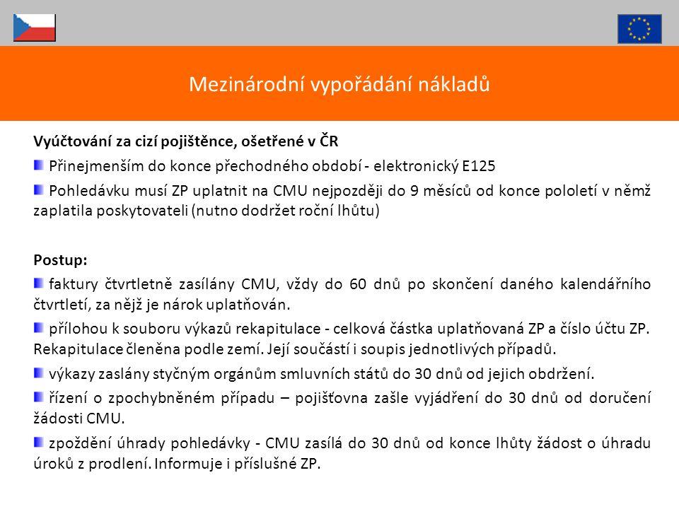 Vyúčtování za cizí pojištěnce, ošetřené v ČR Přinejmenším do konce přechodného období - elektronický E125 Pohledávku musí ZP uplatnit na CMU nejpozděj