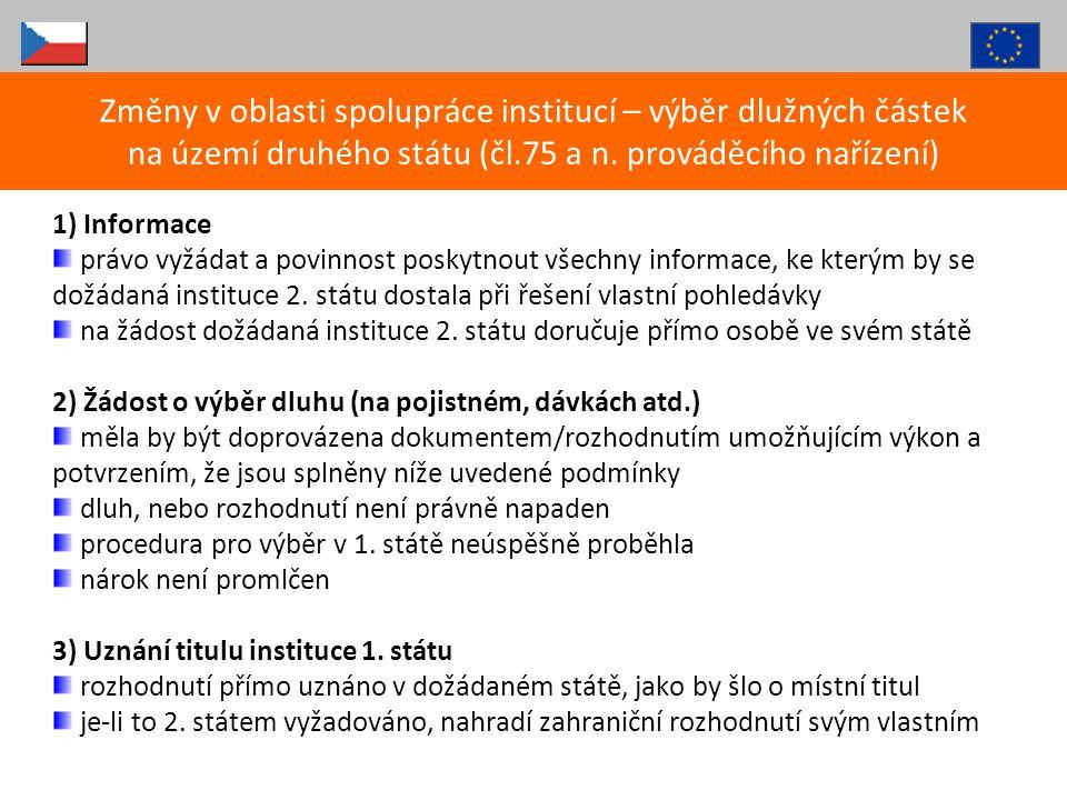 1) Informace právo vyžádat a povinnost poskytnout všechny informace, ke kterým by se dožádaná instituce 2. státu dostala při řešení vlastní pohledávky