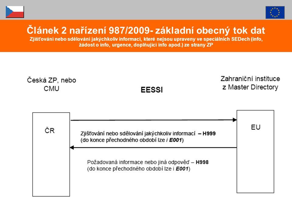 Článek 2 nařízení 987/2009- základní obecný tok dat Zjišťování nebo sdělování jakýchkoliv informací, které nejsou upraveny ve speciálních SEDech (info