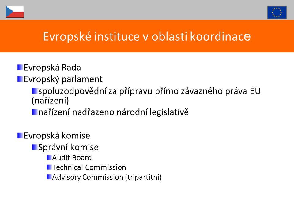 Evropský soudní dvůr (Lucemburk) rozhodování v konkrétních případech ( v rámci řízení o předběžných otázkách, nebo ve věci samotné ) rozhodnutí nejsou obecně závaznými předpisy hledání souladu s Dohodami o ES a sekundární legislativou, některé rozsudky přímo vykládají jednotlivé články Dohod nebo nařízení ESD nejvyšší autoritou při výkladu práva EU, jeho nálezy závazné pro národní soudy nelze na národní úrovni postupovat v rozporu s výkladem učiněným ESD Evropské instituce v oblasti koordinac e