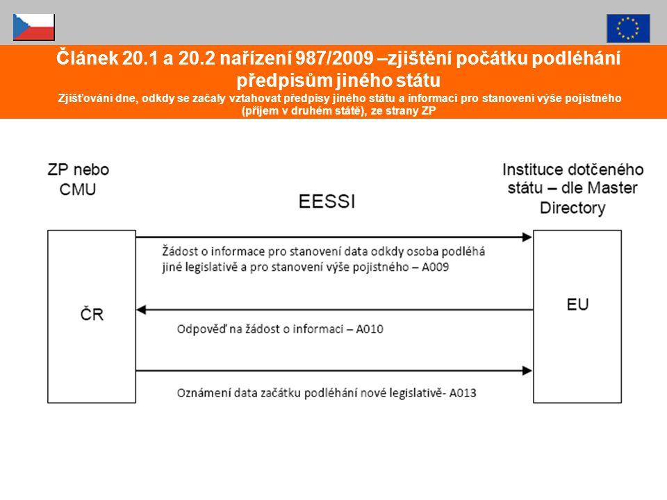 Článek 20.1 a 20.2 nařízení 987/2009 –zjištění počátku podléhání předpisům jiného státu Zjišťování dne, odkdy se začaly vztahovat předpisy jiného stát