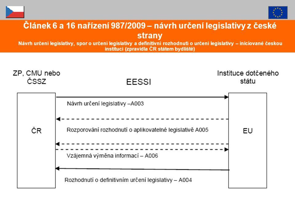 Článek 6 a 16 nařízení 987/2009 – návrh určení legislativy z české strany Návrh určení legislativy, spor o určení legislativy a definitivní rozhodnutí