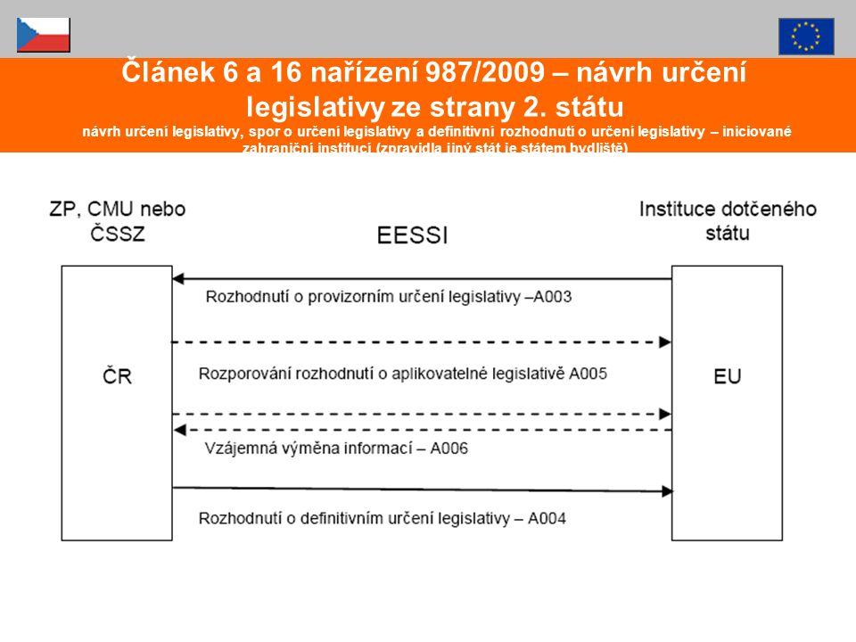 Článek 6 a 16 nařízení 987/2009 – návrh určení legislativy ze strany 2. státu návrh určení legislativy, spor o určení legislativy a definitivní rozhod