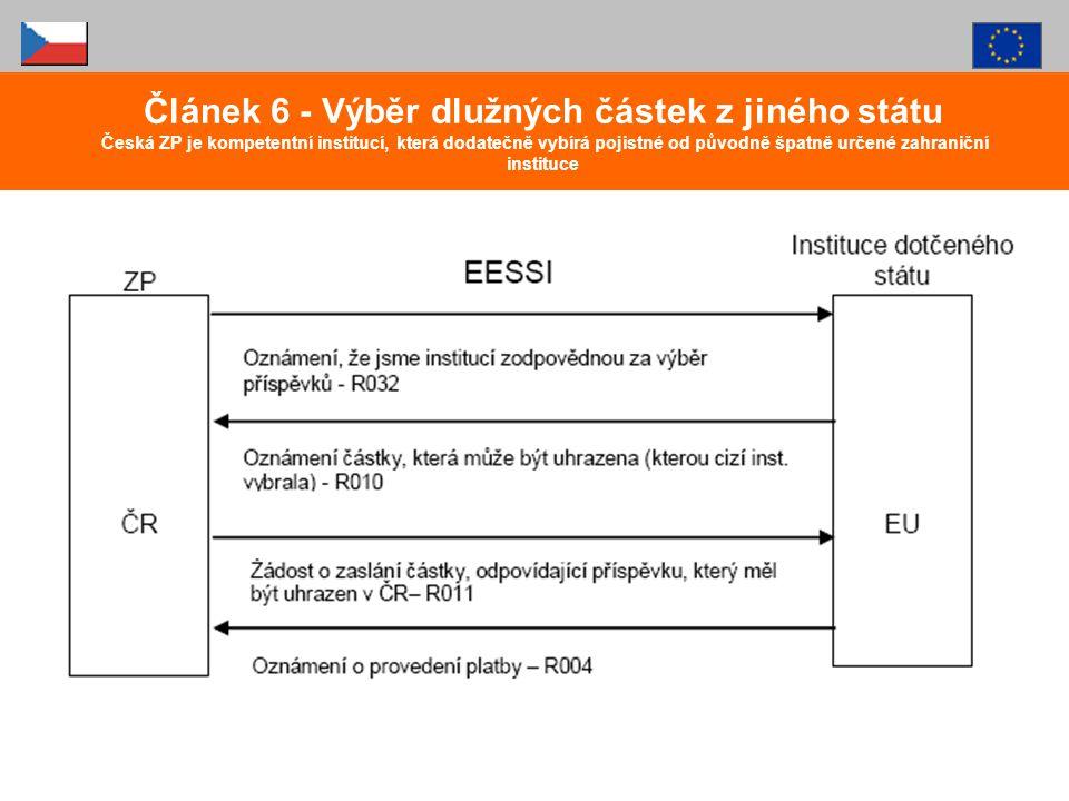 Článek 6 - Výběr dlužných částek z jiného státu Česká ZP je kompetentní institucí, která dodatečně vybírá pojistné od původně špatně určené zahraniční