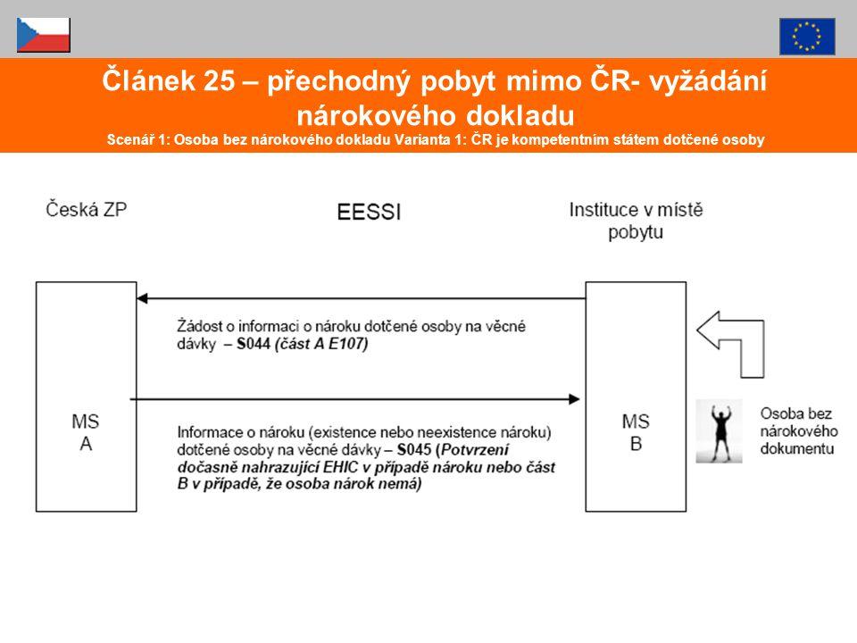 Článek 25 – přechodný pobyt mimo ČR- vyžádání nárokového dokladu Scenář 1: Osoba bez nárokového dokladu Varianta 1: ČR je kompetentním státem dotčené