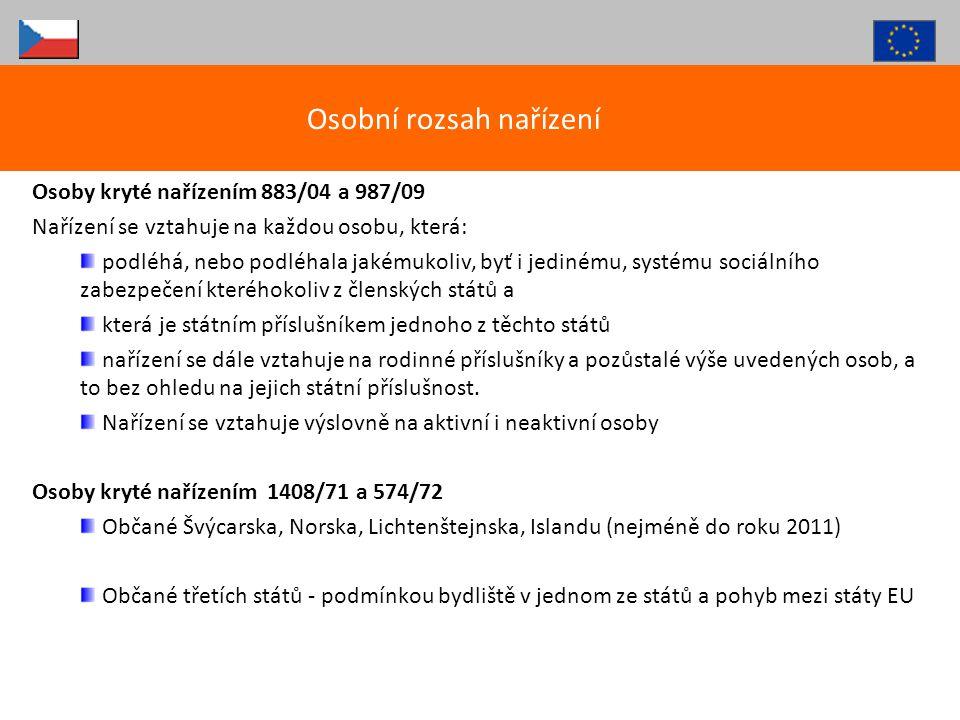 Čeští pojištěnci a jejich nezaopatření rodinní příslušníci, bydlící na území jiného členského státu EU (v případě zemí EHP a Švýcarska aplikovány zatím postupy dle 1408/71!!!) Obecné principy Nárok na plnou péči ve státě bydliště i v ČR na účet české ZP Nárokový doklad – S1, S072 (nebo do konce přechodného období E106, 109, 120, 121) – označeno datum vzniku pojištění v ČR nebo datum přestěhování typicky osoby pracující v ČR, nebo čeští důchodci, bydlící v jiném státě (+ jejich rodiny).