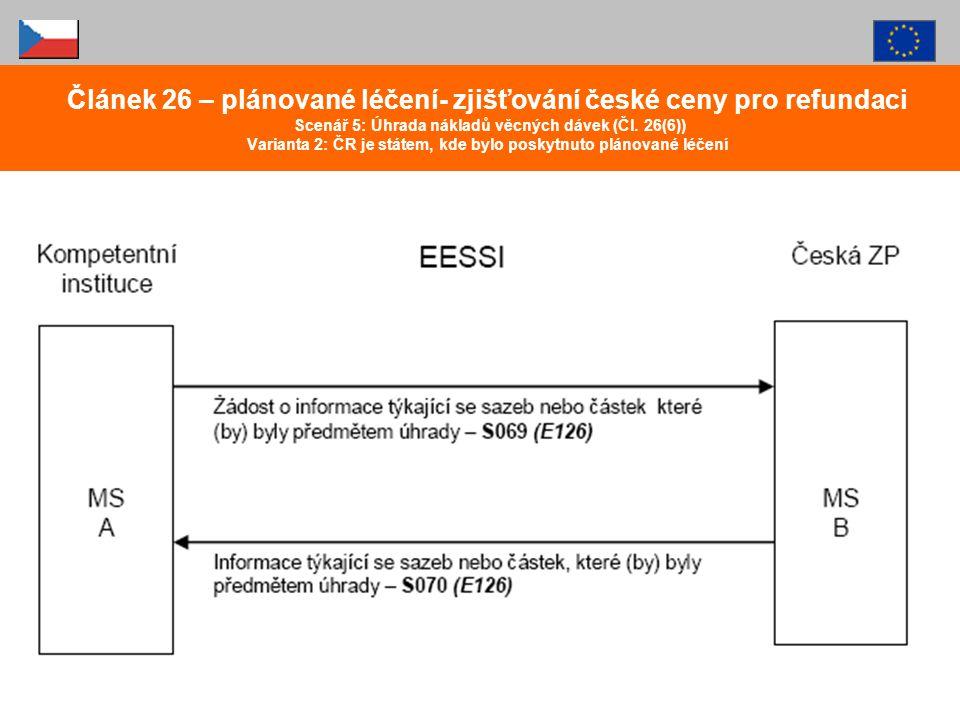 Článek 26 – plánované léčení- zjišťování české ceny pro refundaci Scenář 5: Úhrada nákladů věcných dávek (Čl. 26(6)) Varianta 2: ČR je státem, kde byl