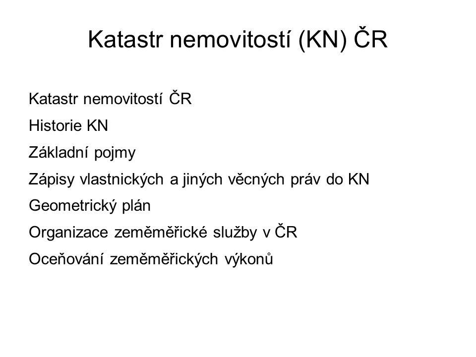 Organizace zeměměřické služby v ČR VÚGTK – hlavním úkolem je výzkum v oboru, správa odvětvového informačního střediska.